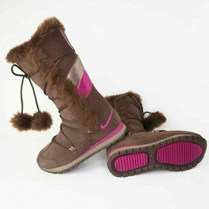 Nike Winter High Suede Womens Boots Brown Leather